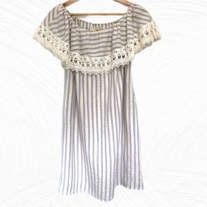 Off the Shoulder Striped Lace Dress